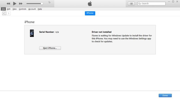 iTunes is Waiting for Windows Update to Install the Driver for This iPhone