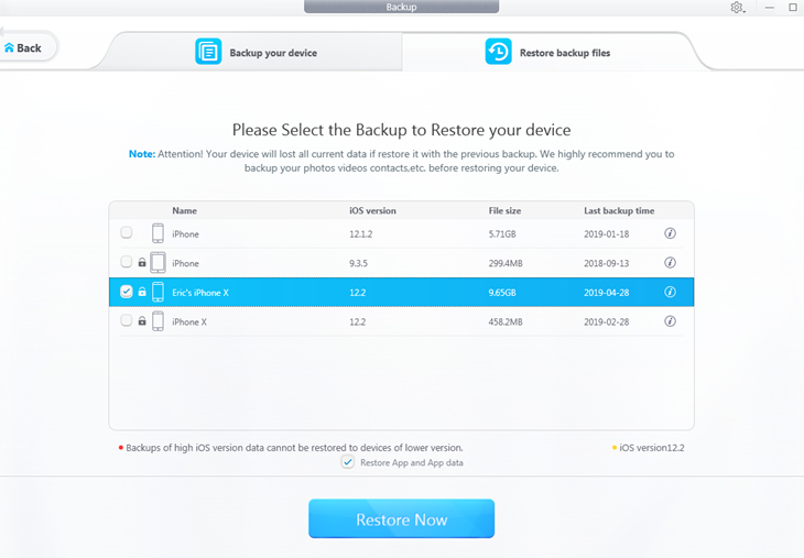 Restore iPhone backup file to new iPhone