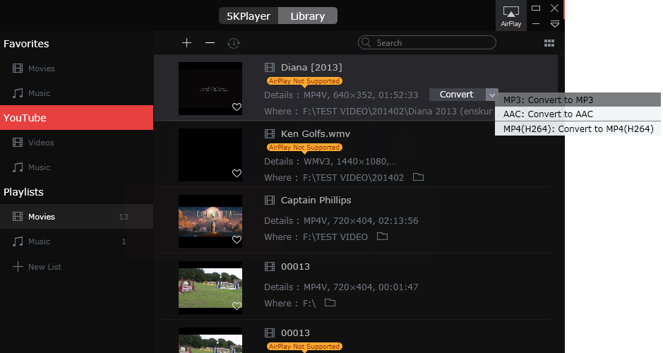 5KPlayer YouTube in MP3